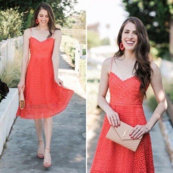 J.Crew Coral Pink Orange Eyelet Daisylace Dress